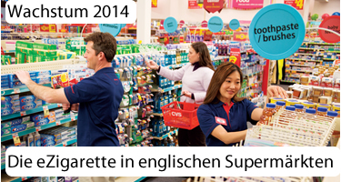 E-Zigaretten waren 2014 das wachstumsstärkste Produkt in englischen Supermärkten