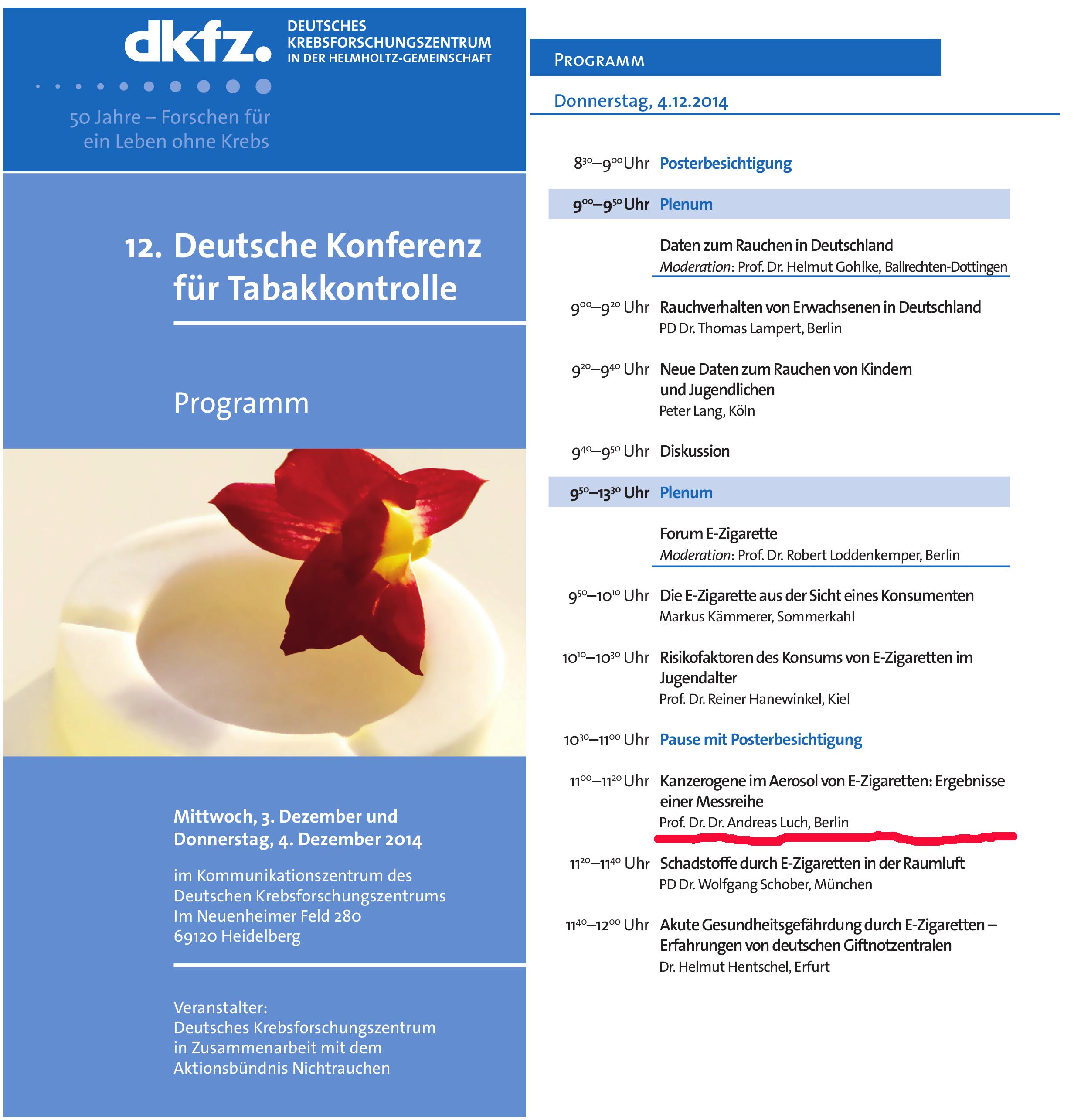 """Prof. Dr. Dr. Andreas Luch einen Vortrag mit dem Titel """"Kanzerogene im Aerosol von E-Zigaretten: Ergebnisse einer Messreihe"""""""
