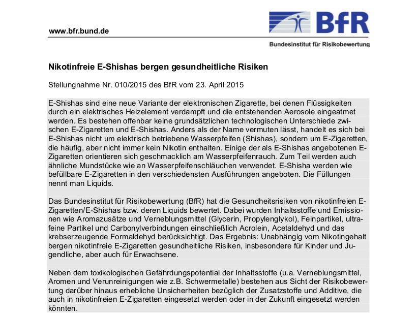 """Stellungnahme des BfR zu """"nikotinfreien Shishas"""""""