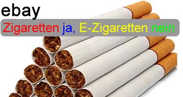 ebay: Zigaretten ja, E-Zigaretten nein