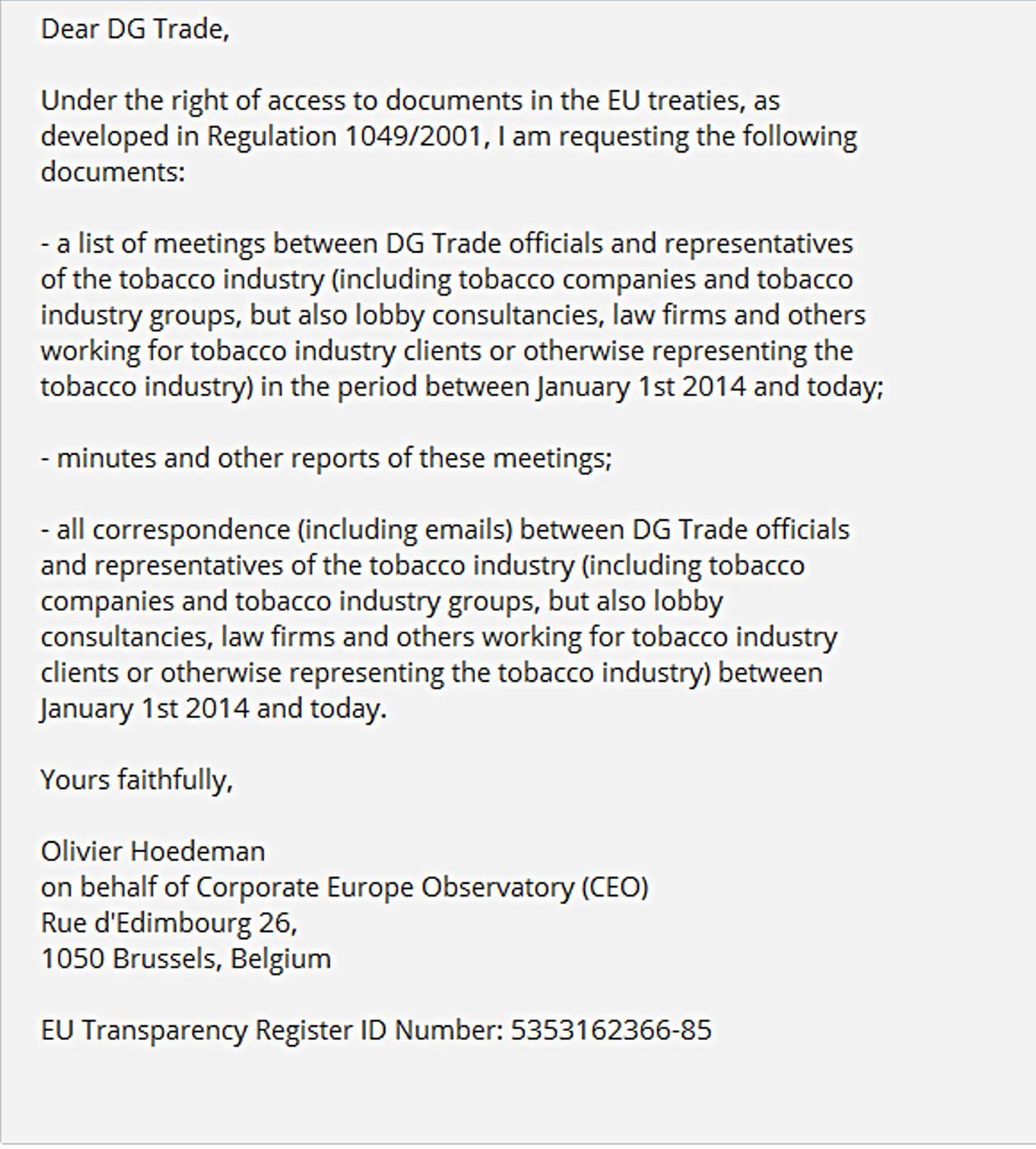 Anfrage an die EU-Kommission