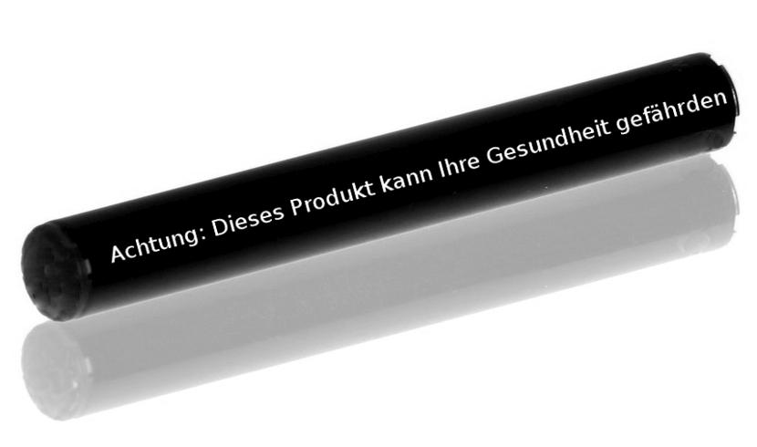 E-Zigarette mit Warnhinweis