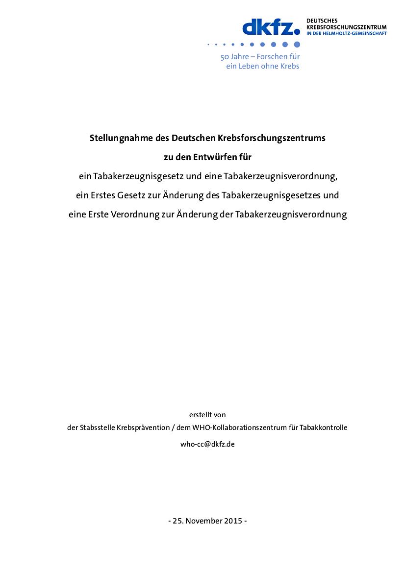 DKFZ-Stellungnahme zum Gesetzentwurf der e-Zigarette