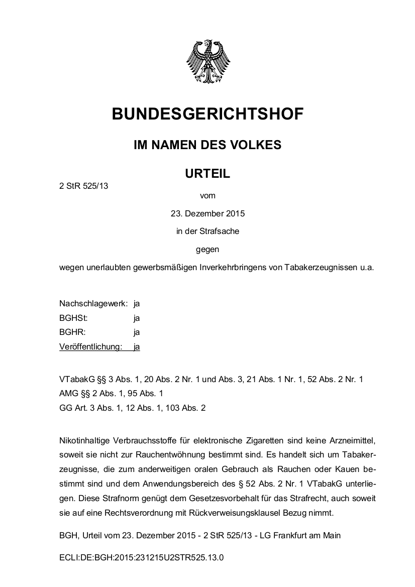 Seit gestern ist der E-Zigarettenhandel in Deutschland verboten